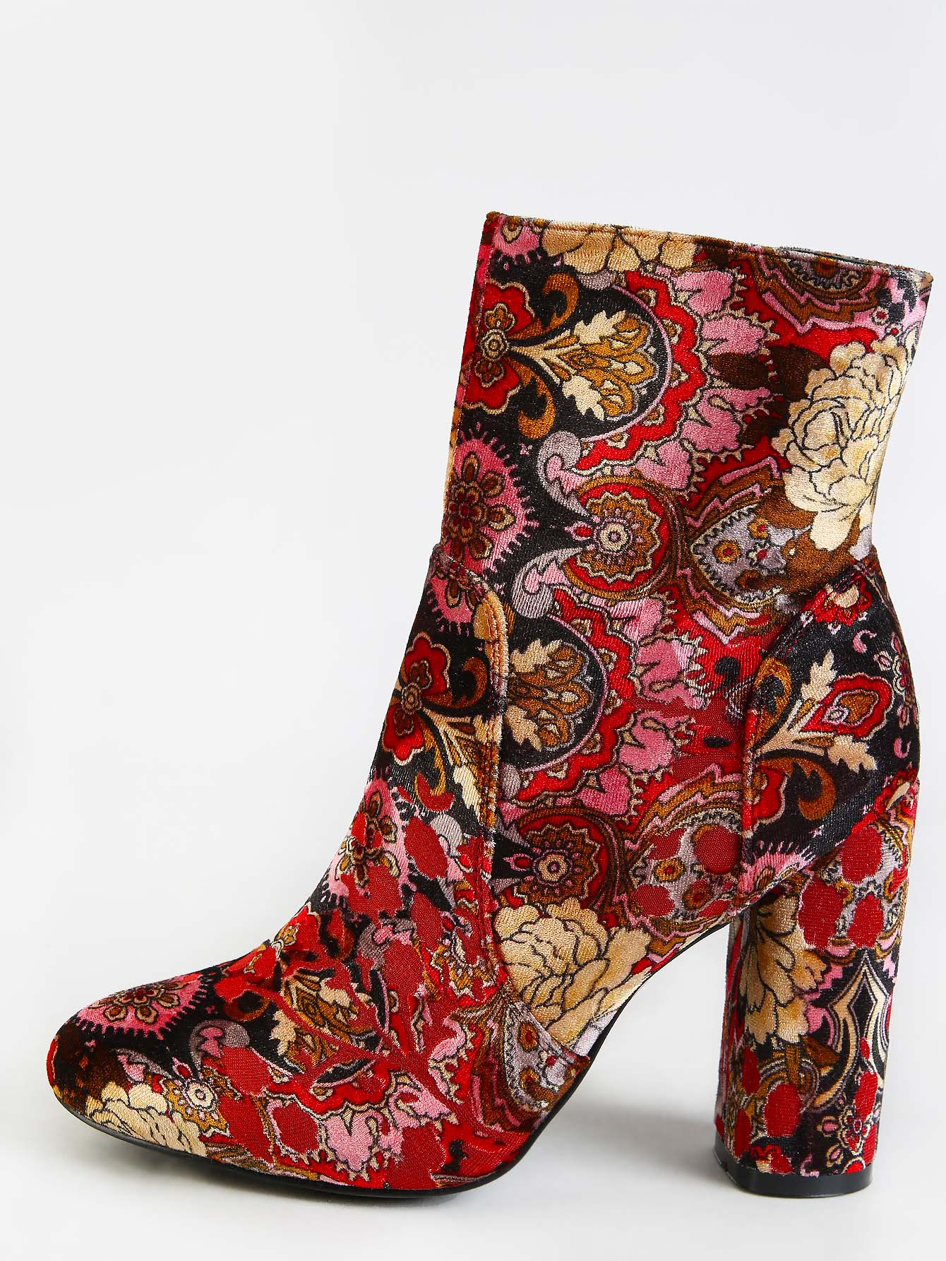 Vintage Inspired Patterned Ankle Booties MULTI