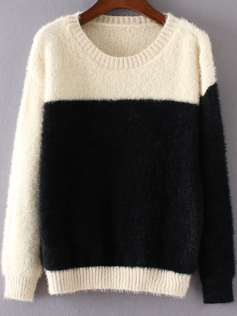 Black Color Block Ribbed Trim Round Neck Sweater sweater160905226