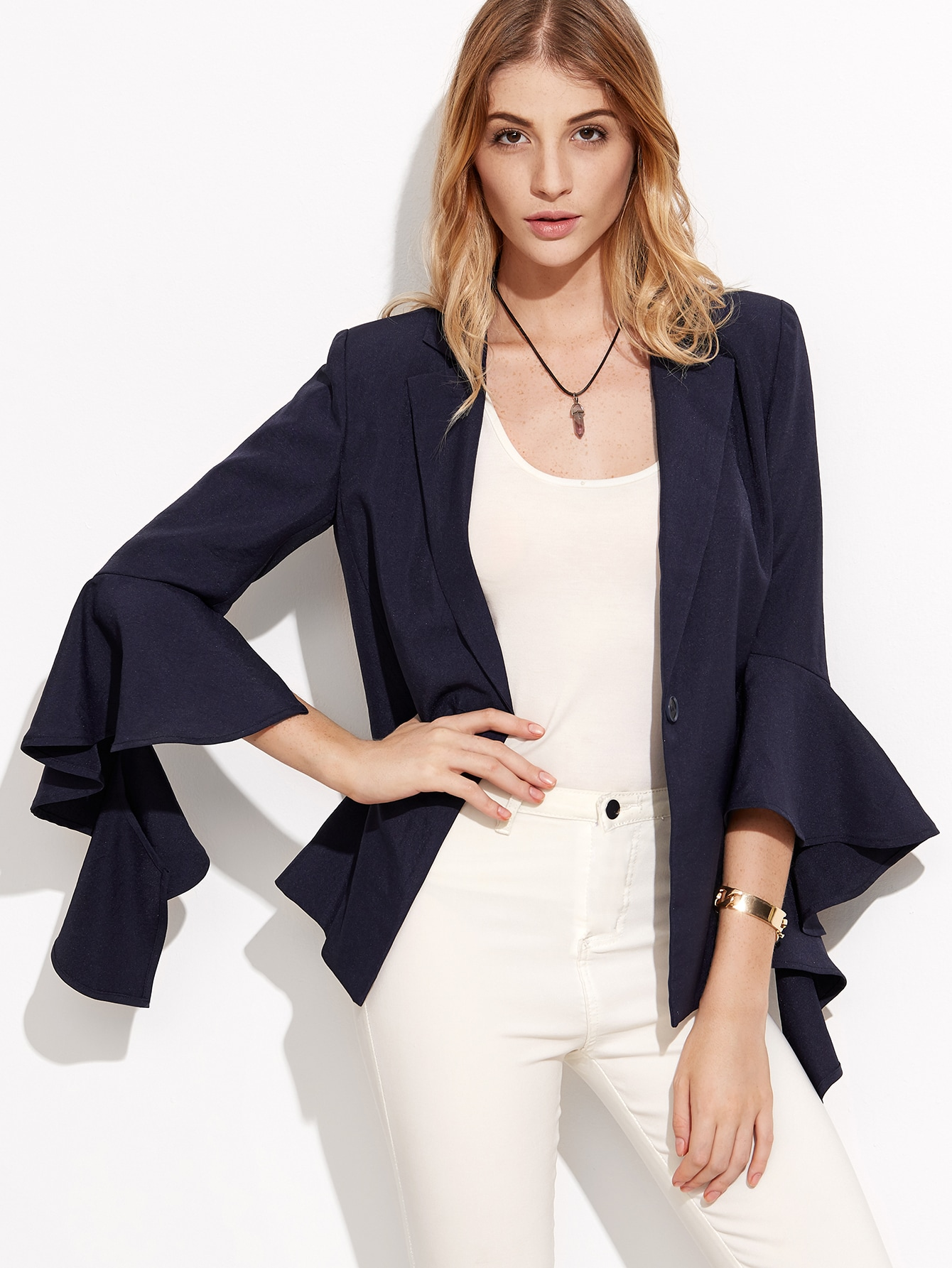 Navy Ruffle Sleeve One Button Blazer