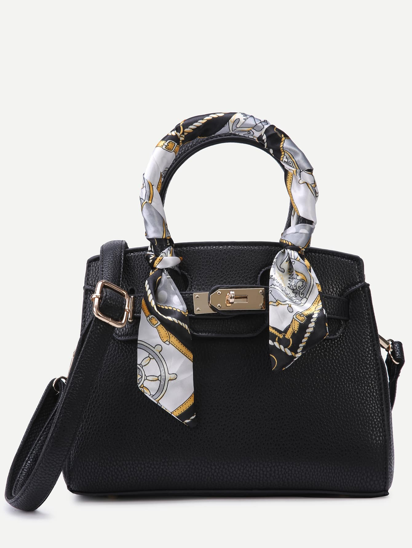 Black Pebbled PU Buckle Strap Handbag With Strap Image
