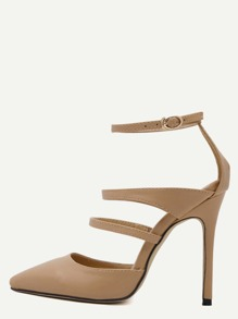 Apricot Faux Leather Point Toe Mary Jane Pumps