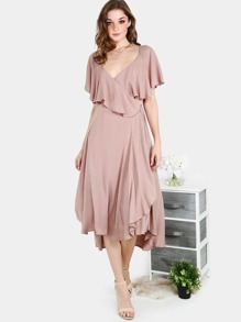 Crinkle Ruffle Wrap Dress MOCHA