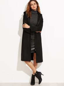 Black Faux Suede Zip Up Hooded Coat