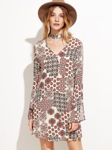White Ornate Print Cutout Choker Tunic Dress