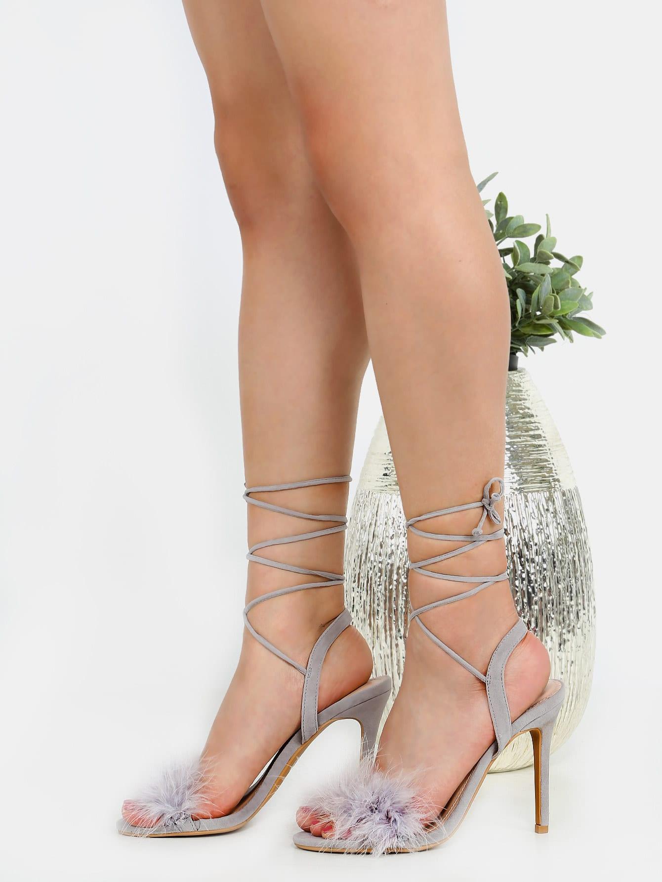 Фото Open Toe Feather Wrap Heels GREY. Купить с доставкой