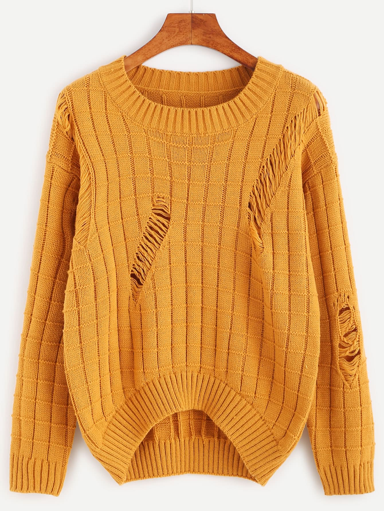 Mustard Geo Pattern Ripped High Low SweaterMustard Geo Pattern Ripped High Low Sweater<br><br>color: Mustard<br>size: one-size