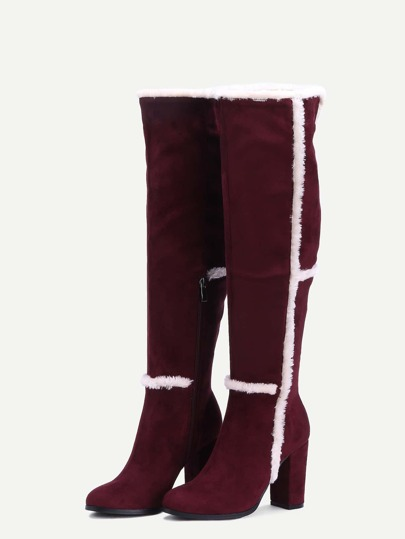 burgundy faux suede point toe knee high boots shein