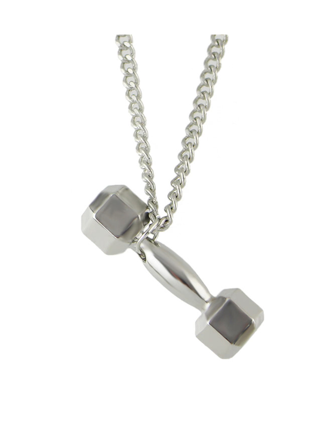 Silver Color Dumbbell Pendant Necklace