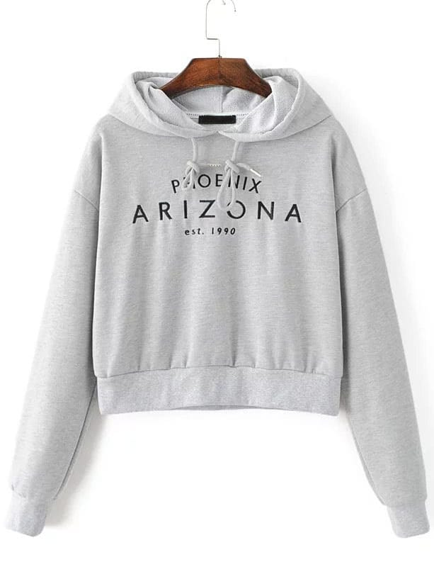 letter embroidery crop hooded sweatshirt sheinsheinside With letter sweatshirt
