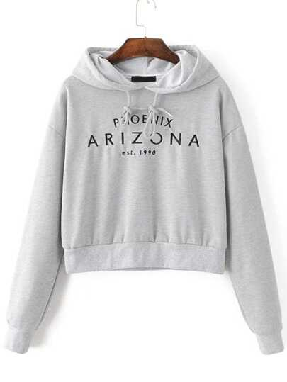 Letter Embroidery Crop Hooded Sweatshirt