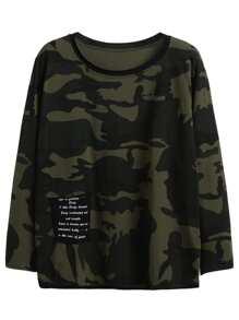 Camo Print Contrast Pocket T-shirt