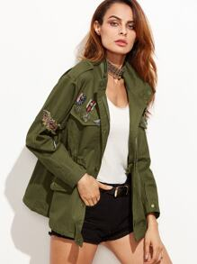 Army Green Badge Embellished Pocket Coat