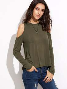 Olive Green Open Shoulder Split Back T-shirt