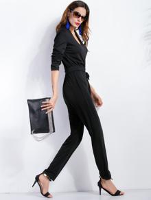 Combi-pantalons col V avec lacet - noir