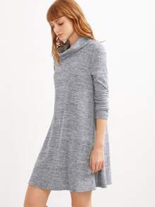 Grey Marled Knit Cowl Neck A Line Dress