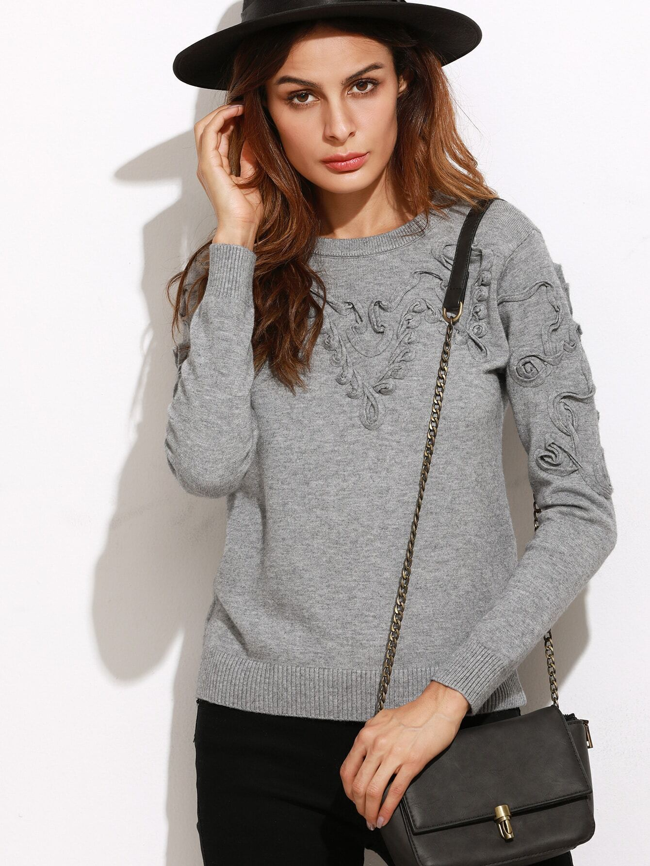 Grey Applique Ribbed Trim Long Sleeve Sweater sweater160921471