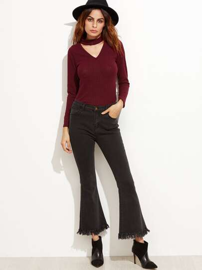 Burgundy Cutout Front Ribbed Sweater