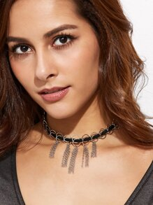 Silver Circle Chain Tassel Choker Necklace