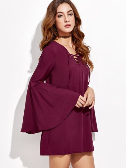 Burgundy V Neck Bell Sleeve Lace Up Dress