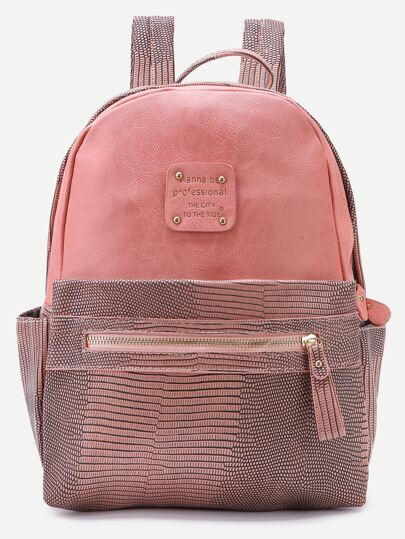 Pink Metallic Embellished PU Backpack