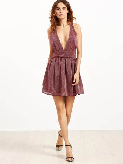 Burgundy Deep V Neck Sleeveless Sparkle Detail Party Dress