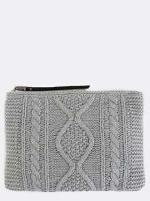 Cable Knit Oversized Clutch GREY