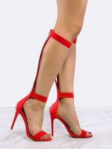 Strappy Knee High Heels RED
