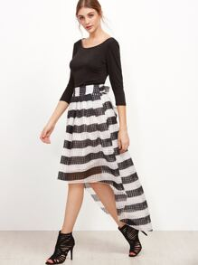 Black Top With Contrast Striped Dip Hem Skirt