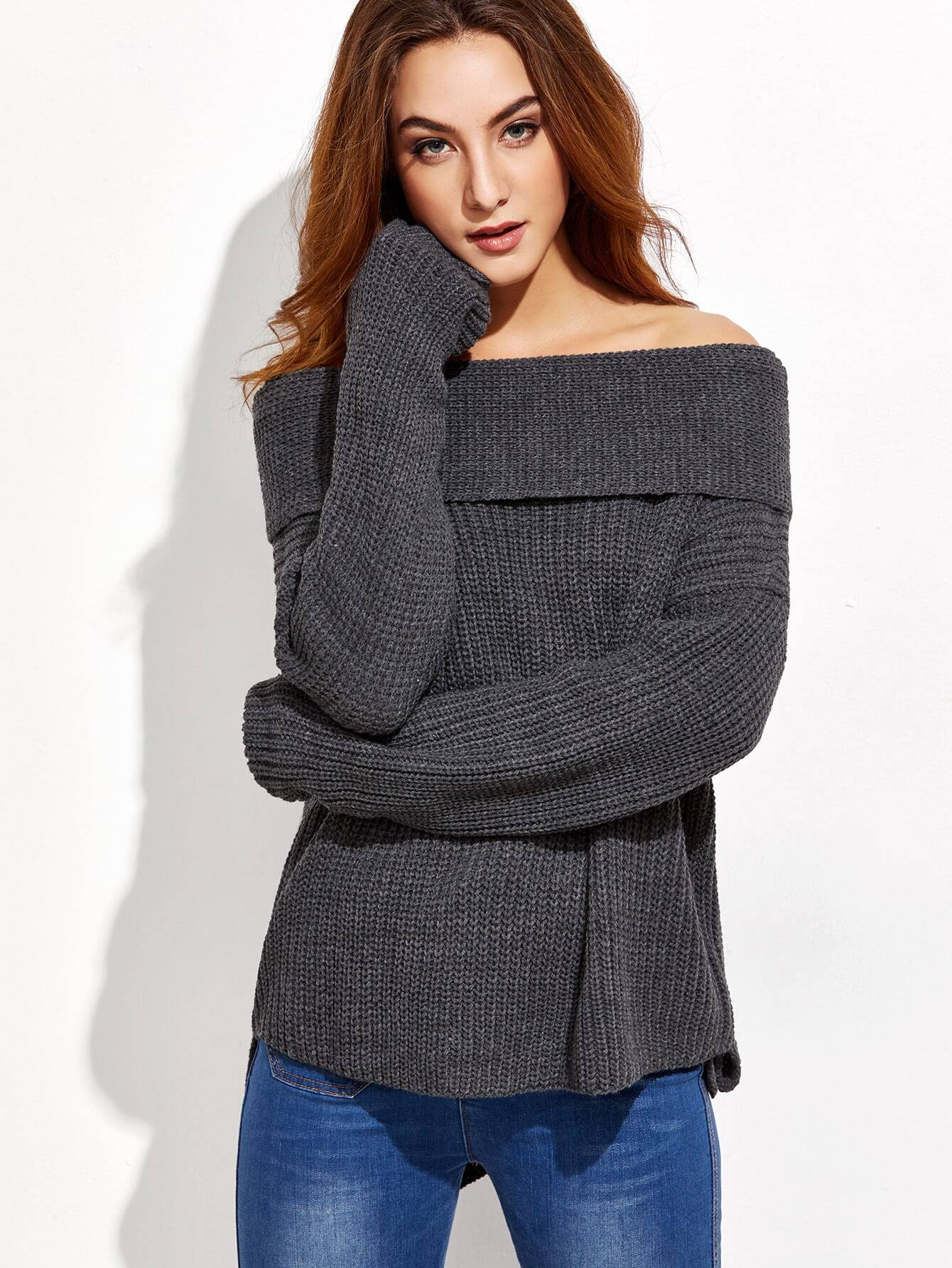 Фото Dark Grey Drop Shoulder Two Way High Low Sweater. Купить с доставкой