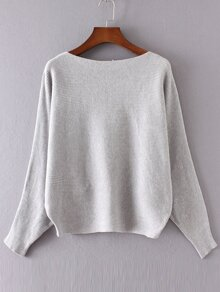 Grey Boat Neck Batwing Sleeve Sweater