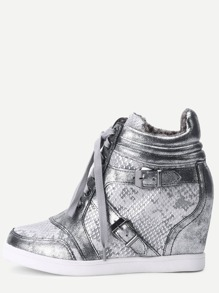 Silver Snakeskin Round Toe Lace-up High Top Wedges