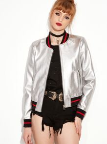 Silver Striped Trim Zipper Up Flight Jacket