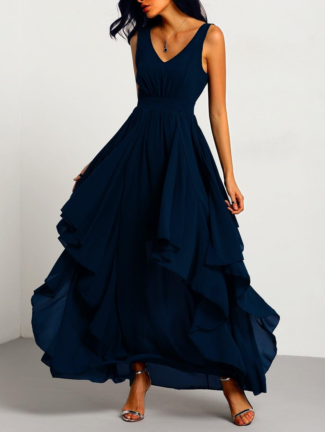 V Neckline Layered Maxi Chiffon Dress dress160905123