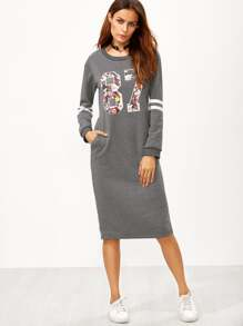 Grey Varsity Print Slit Back Zipper Sweatshirt Dress