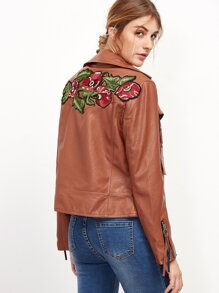 Light Brown Butterfly Embroidery PU Jacket With Zipper