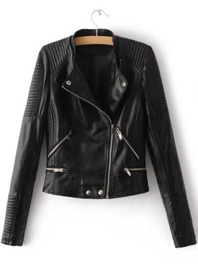 Oblique Zipper Quilted PU Moto Jacket