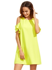 Yellow Cold Shoulder Ruffle Sleeves Shift Dress