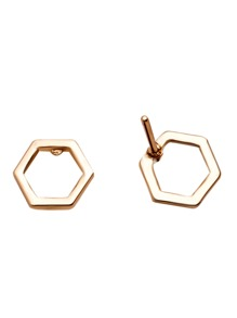 Gold Hexagon Hollow Out Stud Earrings