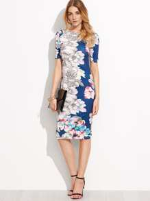 Blue Flower Print Pencil Dress
