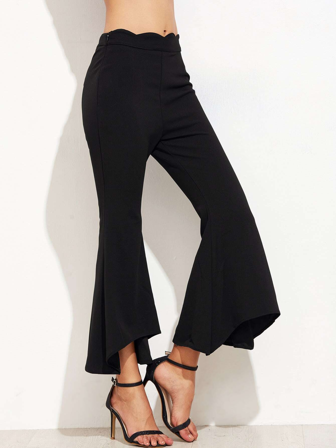 Scallop Waist Asymmetric Flared Pants