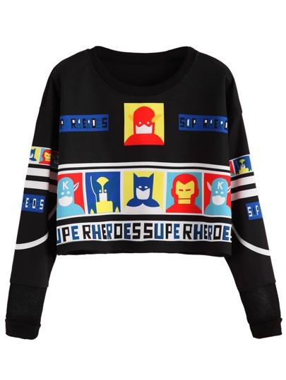 Black Cartoon Print Crop Sweatshirt