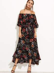 Black Floral Off The Shoulder Ruffle Sleeve Self Tie Dress