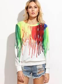 Sweat-shirt imprimé manche longue - multicolore