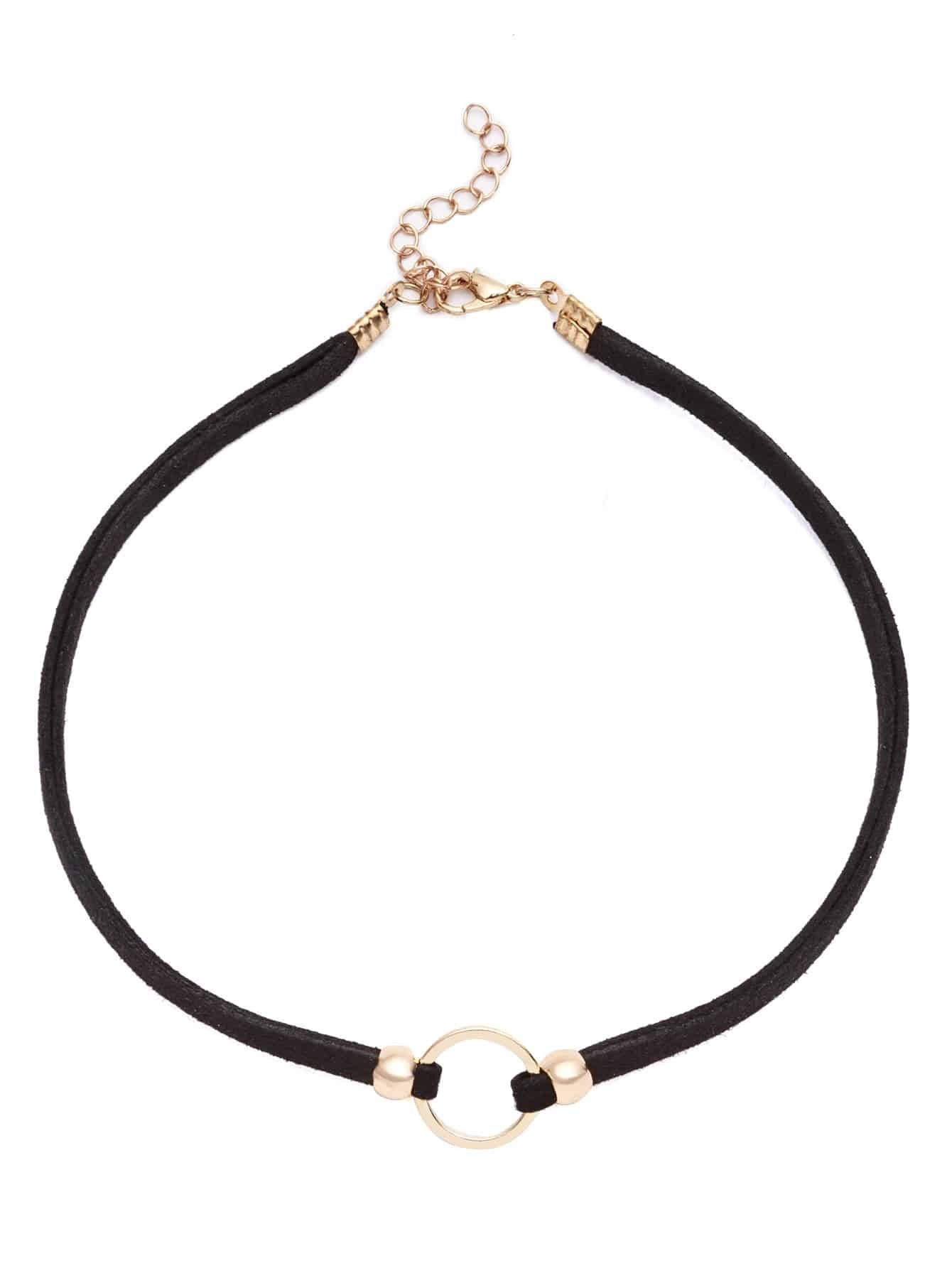 Фото Gold Plated Circle Cord Choker Necklace. Купить с доставкой