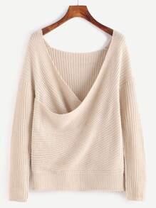 Apricot Drop Shoulder Textured Wrap Sweater