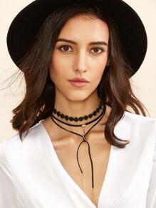 Black Layered Geometric Pendant Choker Necklace