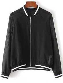 Black Contrast Trim Raglan Sleeve Mesh Jacket