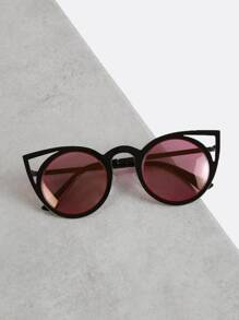 Cut Out Cat Eye Sunglasses BLACK PURPLE