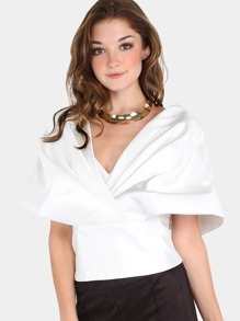 Shoulder Shawl Ribbon Crop Top OFF WHITE