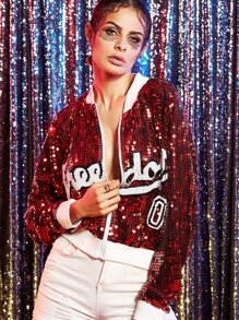 Red Letter pattern Sequin Bomber Jacket